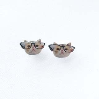 Exotic Cat in Glasses Jojo 925 silver stud earrings