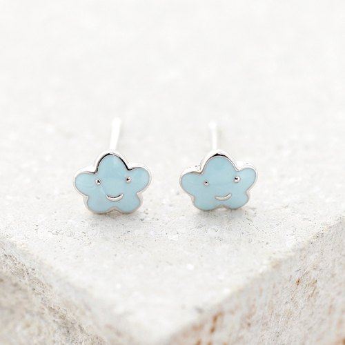 Smiley Cloud Earrings in 925 Sterling Silver with White Gold plating
