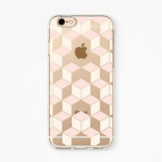 iPhone Case - Hexagonal black - for iPhones - Clear Flexible Rubber Case