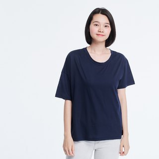 Shine Cotton Fabric Asymmetry Sleeves T-shirt Top Navy