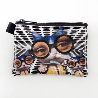 | I AM PARTY | handmade oil canvas leather wallet - fantasy cat [buy to send brand badge or leisure card stickers x1]