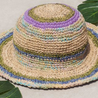 Hand-knitted cotton and linen cap knit hat fisherman hat sun hat straw hat - French taro blueberry macarons
