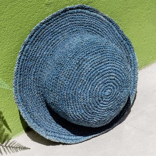 Hand crocheted cotton and linen cap knit hat fisherman hat straw hat straw hat - original summer blue dyeing