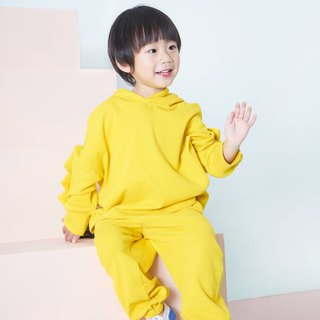 Ming yellow men and women children's clothing sweater pants hooded two-piece suit plain loose foreign sports jacket pants