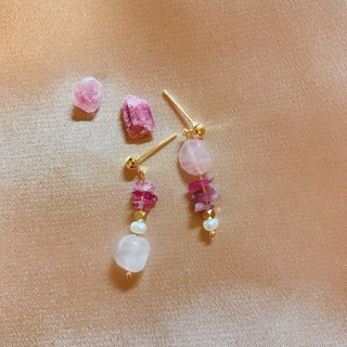 Powder Pink Tourmaline Pearl Earrings