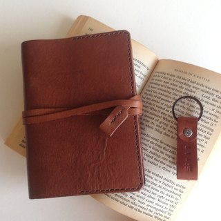 Emmanuel A6 Leather Pocket Book Cover + Key Ring or Hub Autumn Maroon Natural Brown
