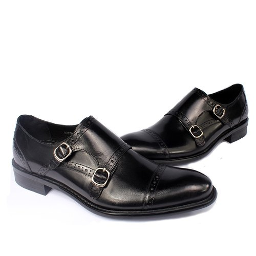Sixlips horizontal carved double buckle Munk shoes black