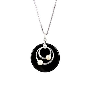 "Galaxy reflection ─ ""Ingenuity ingenuity set"" - Black Onyx Silver necklace ─ romantic Valentine's Day gift"