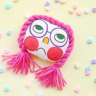 Original pink hair style hand-painted brooch