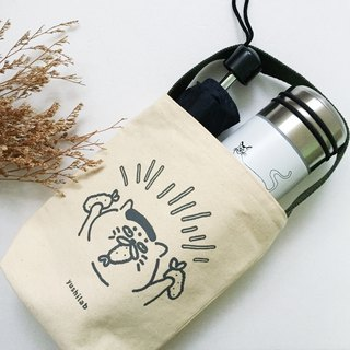 (Second bomb) Goro second anniversary of environmental protection Kettle beverage bag - gray ink + earth green strap