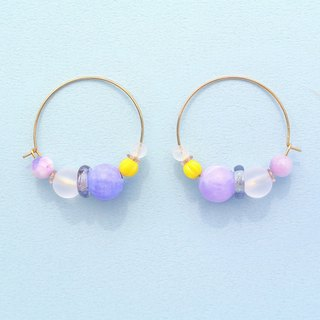 Iridescent small ring / pink purple beads / bright yellow small pumpkin beads earrings