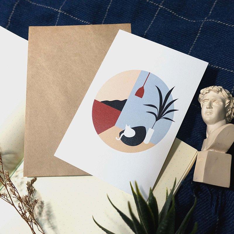 明信片放鬆貓
