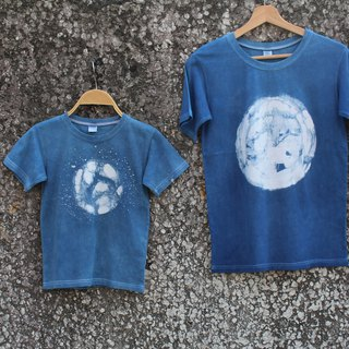 Freelander isvara hand-dyed blue dye batik cotton T-shirt universe series Earth / parent-child loaded / family happy / children's wear