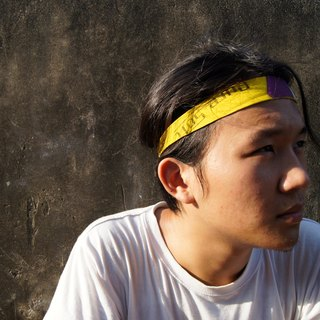 Volleyball x hair band / thin version / conti yellow purple white section number 001