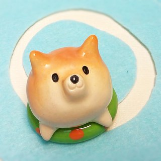 Shiba Inu on a floating ring with glaze #1 Shiba Inu paper weight of ceramic