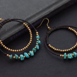 Beaded Woven Earrings Turquoise Chandelier Stone Hoop Gypsy Earrings