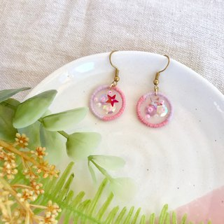 Handmade embroidery // Wishing Galaxy Hook Earrings - Pink / / Clipable
