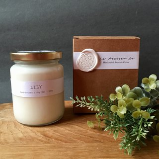 Hand-Poured Lily Scented Soy Wax Candle - 250g | Rustic Candle with Box | Favors