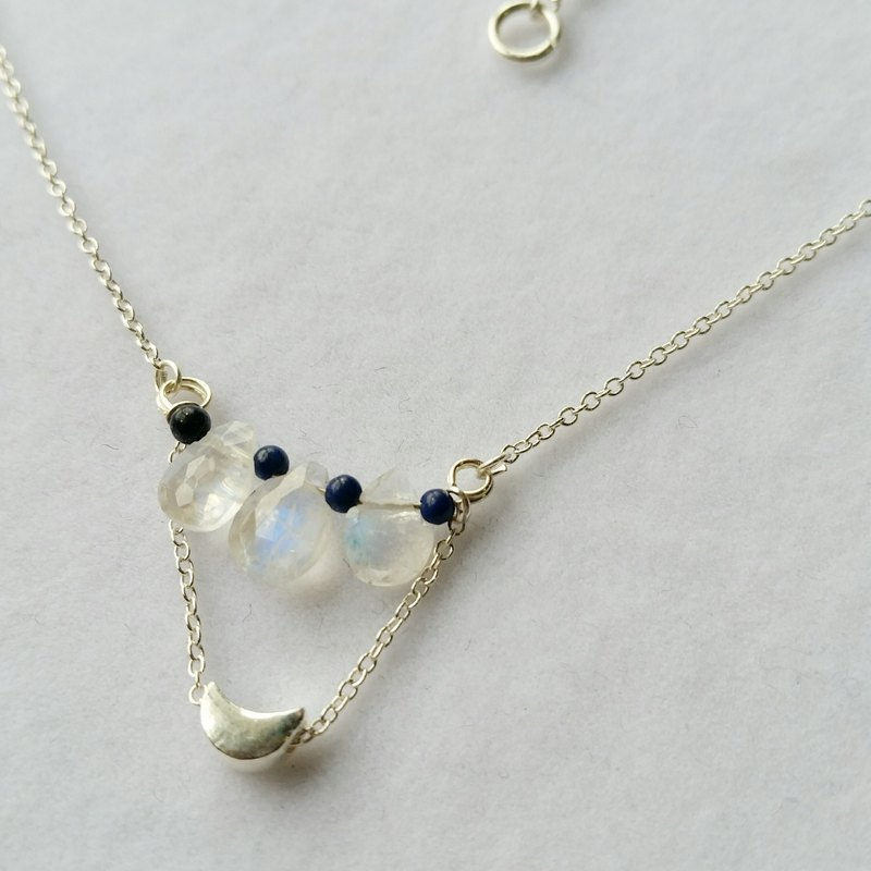 925 silver necklace with moonstone, lazurite 925 sterling silver moonlight stone, small green stone, sterling silver crescent necklace