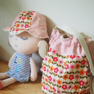 Little pink flower Canvas bag, hat and hair clip set