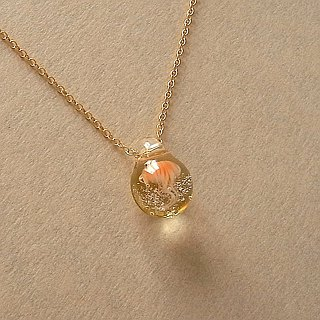 Jellyfish necklace Japanese sea nettle+Champagne Glass Handmade