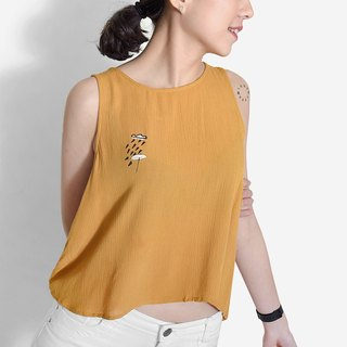 [Summer limited] what umbrella block setback rain / yellow mustard cool chiffon vest