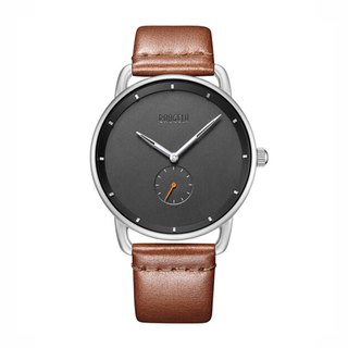 BAOGELA - DOME Silver Black Dial / Brown Leather Watch