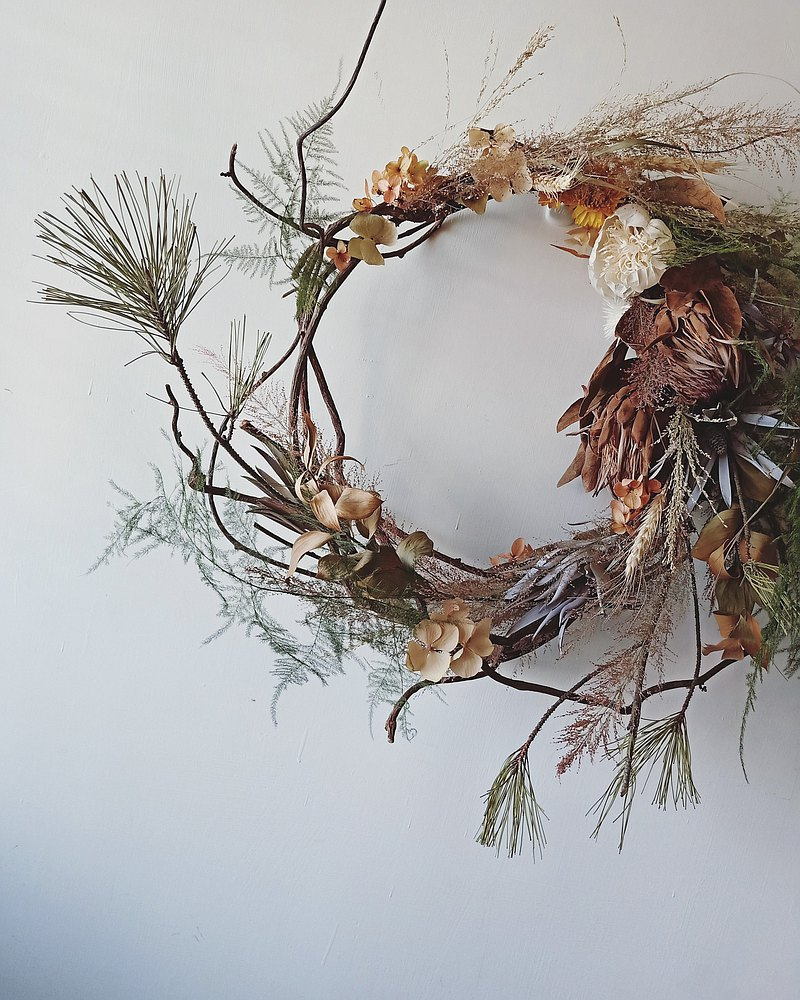 【Workshops】Autumn feeling. Hand-tied wreath/experience course/dry flower/autumn limited