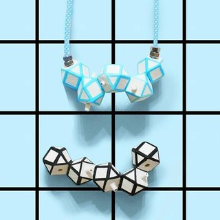 Puppets 3D Solid Blue Black Mesh Necklace Necklace