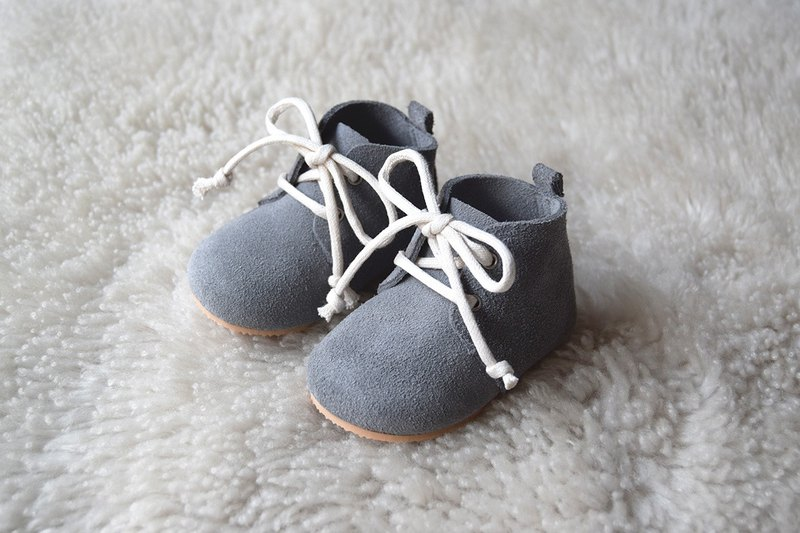 4d6de6b6b6c06 Leather Baby Shoes, Baby Moccasins, Gray Baby Lace Up Boots, Baby Boy Shoes