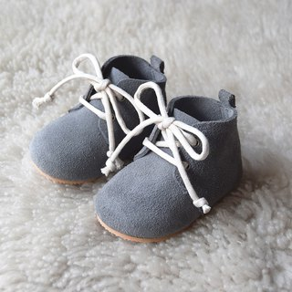 Leather Baby Shoes, Baby Moccasins, Gray Baby Lace Up Boots, Baby Boy Shoes