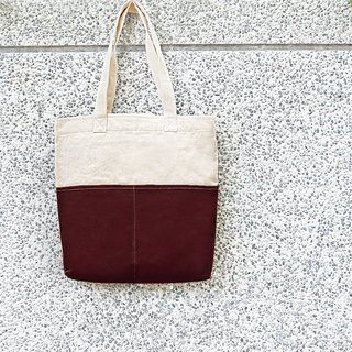 Thick canvas color matching double pocket tote (shoulder/handbag) - Dark red