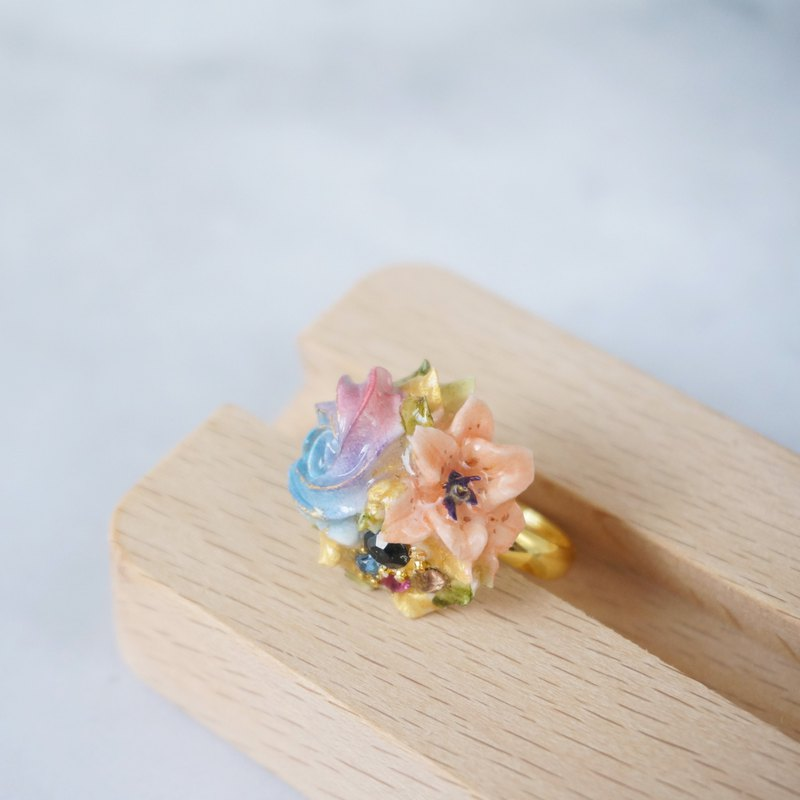 花球戒指 閃石款 手工黏土裱花 可客製