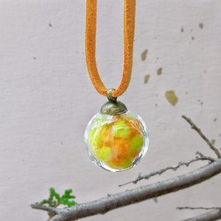 Glass Ball (with Felt Balls) Pendant Necklace - Orange