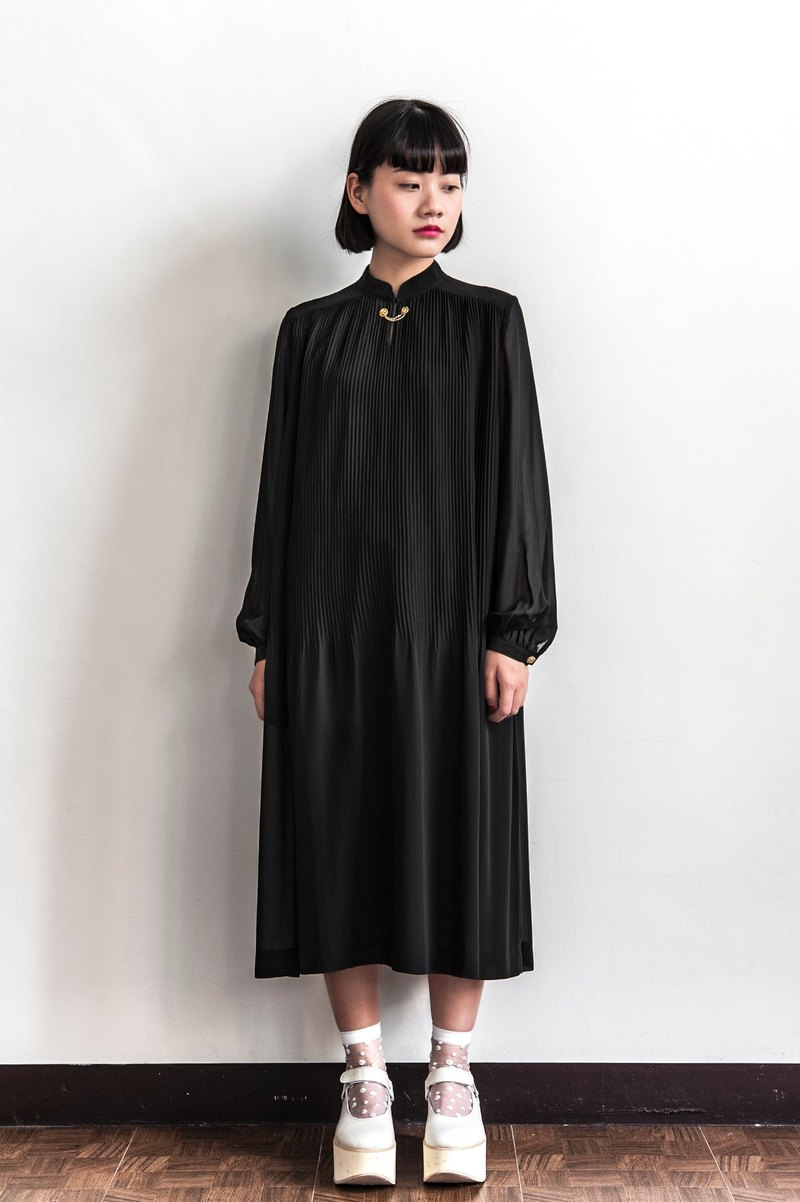 Vintage pure black gold chain long-sleeved dress