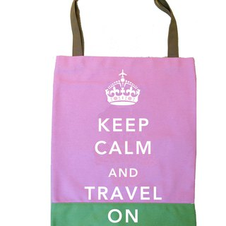 Keep Calm & Travel On Book Tote -  Pink - Green