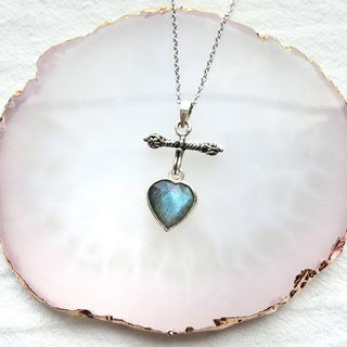Labradorite 925 Sterling Silver Love Anchor Necklace