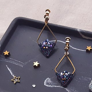 Star Shaped Brass Embroidered Earrings