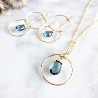 14kgf*宝石質London Blue Topaz ring necklace