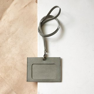 Identification card holder + neck strap _ horizontal _ double card layer _ gray