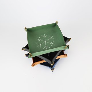 [Cut] Pure handmade leather storage box hand-stitched pattern Wenwan beads jewelry storage box cowhide tray