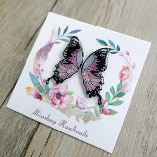Misssheep-Butterfly Wings Series - Pink Light Blue Handmade Earrings (Auricular/Transparent Transparent Ear Clips)