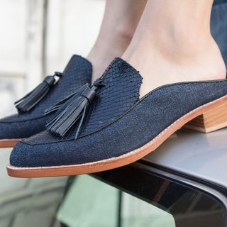 denim snakeskin loafer
