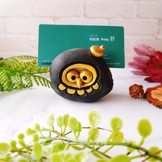 D-24 Black Hawk Card Holder│Yoshino Hawk x Owl Pottery Decoration Pure Handmade Desk, Desk Stationery Healing Small Things