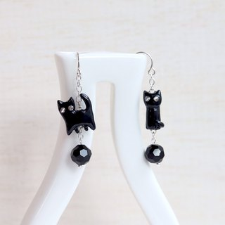 Black Cat Earrings, Dangle & Drop Earrings, cat sculpture, cat lover gifts