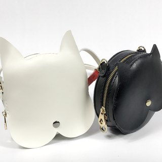 Zemoneni leather shoulder bag white dog and black cat collection