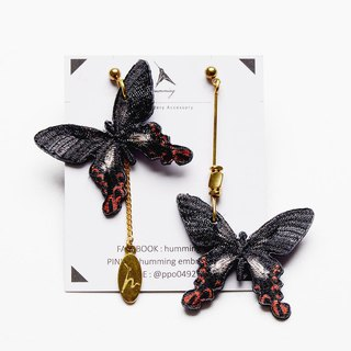 humming | Embroidery Earrings - Wide-tailed butterflies butterfly series (can change ear clip)