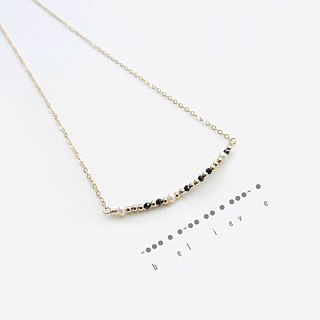 Dainty Black Spinel, Freshwater Pearls Beaded 14K GF Morse Code Necklace