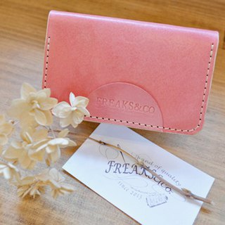 Sakura color genuine leather business card holder (hand dyed)