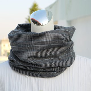 Light blue striped lattice warm scarf short scarf neck cover double-sided two-color men and women are applicable*SK*